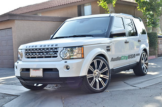 "2012 Land Rover LR4 on 22"" Stormer Replica's black machine wheels 