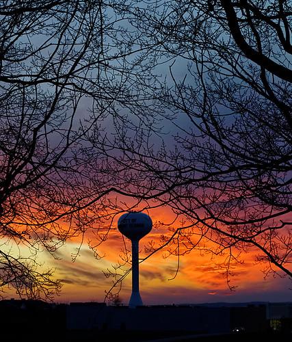 autumn sunset ohio storm tree tower water mount vernon