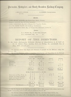 Portmadoc, Beddgelert and South Snowdon Railway Directors Report 1907 | by ian.dinmore