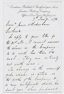 Eveham, Ridditch & Stratford upon Avon Junction Railway letterhead 1878   by ian.dinmore
