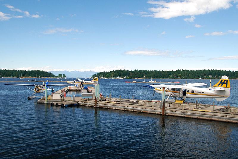 Floatplanes in Nanaimo Harbour, Nanaimo, Vancouver Island, British Columbia, Canada