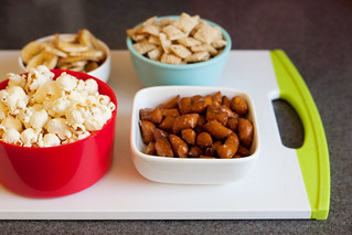 popcorn, banana chips and nuts | by PersonalCreations.com