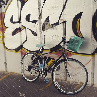 My #bike with snazzy new basket. And some #graffiti.