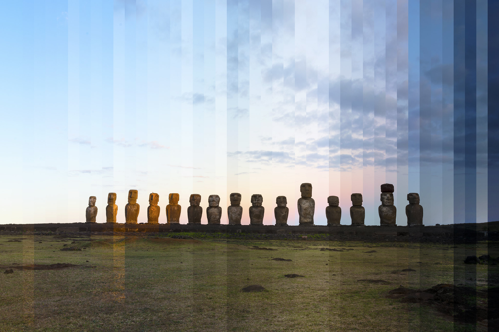 """Time Slice"" Tongariki Easter Island Sunset"