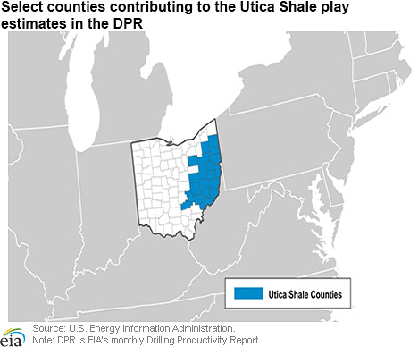 Select counties contributing to the Utica Shale play estim