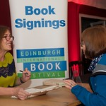 Kirst Wark signs books for her vans | Kirsty Wark at The Edinburgh International Book Festival