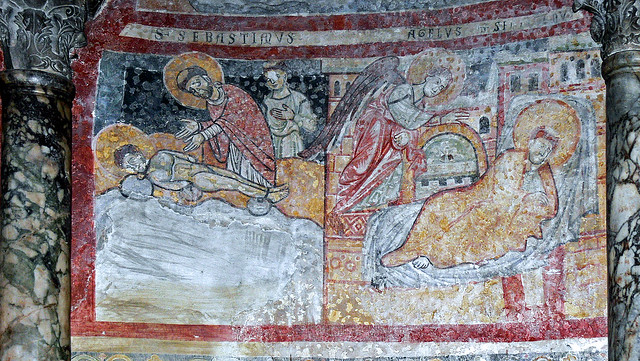 An angel appears to presbyter Sebastian and shows him the place with the corpse of Saint Iustus