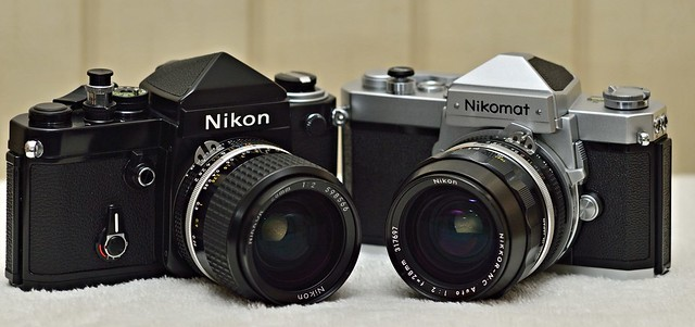 nikon nikkor 28mm 2.0 ais and N.C. on F2 and Nikomat FTN 3