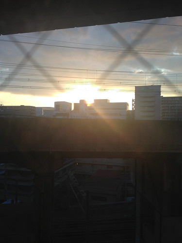 bridge japan train sunrise buildings concrete hotel inn tracks overpass business bullet sendai miyagi tohoku shinkansen toyoko 2013