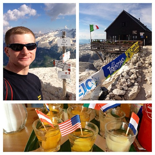 Made it to the top of Piz Boe and the Refugio Hütte Capanna Fassa. They had a celebratory schnapps waiting for me - the American! The flags are for the Dolomites Skyrace 1/2 marathon the next morning. #pizboe #refugio #hütte #hutte #capannafassa #viaferra   by brianwiese