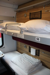 Interior of standard 4-berth compartment in RZD sleeping car built by Siemens