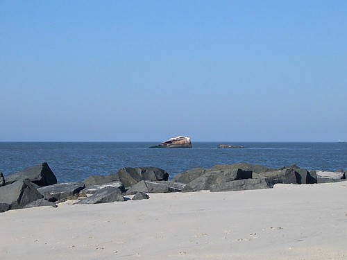 sunset beach atlantus cape may new jersey concrete liberty ship water ocean ha