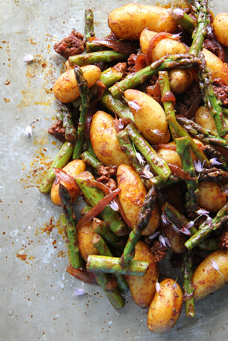 Smoky Potatoes with Asparagus and Chorizo | by Heather Christo