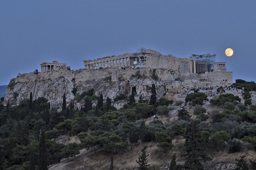 trees sky moon classic monument rock twilight dusk athens greece classical acropolis tamron pentaxk30