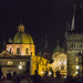 Looking towards Old Town at night from Charles Bridge in Prague