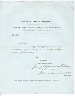 Churnet Valley Railway  support letter 1845 | by ian.dinmore