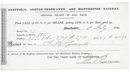 Sheffield, Ashton-Under-Lyne and Manchester Railway final share call 1846 | by ian.dinmore