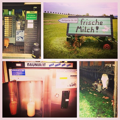 Finally found the frische milch (fresh raw milk) barn near Waldenbuch. Not only was the vending machine fun, it was great to not have to go all the way to the Alps for fresh milk! Thank you Allison! #frischemilch #waldenbuch #freshmilk #milk #milch #rawmi | by brianwiese