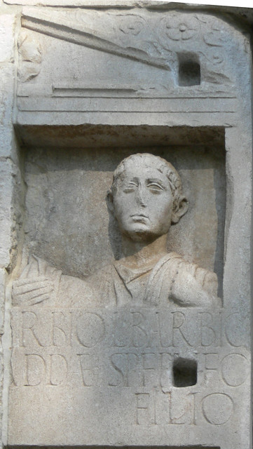 Right side of the tombstone of the Roman Barbius