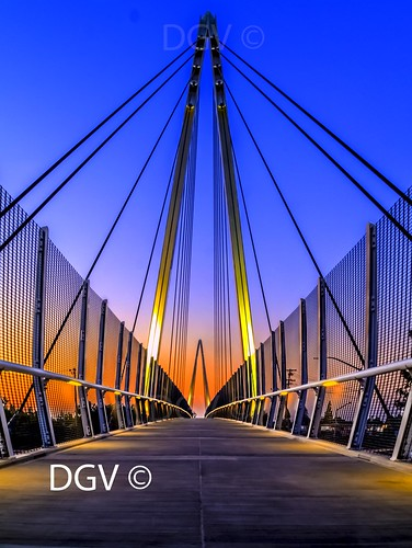 lighting bridge blue sunset sky black yellow architecture night steel cable level cupertino cailfornia no6 greenlevel3 xposurel3