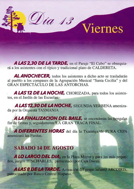 Programa Fiestas de San Lorenzo Año 1999