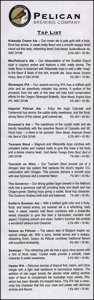 ephemera - Pelican Brewing Co  beer menu | Jassy-50 | Flickr