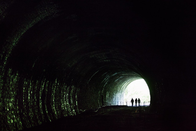 Three women and a tunnel