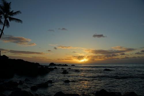 ocean sunset sky sun reflection beach clouds island hawaii rocks surf glow pacific sony northshore waimea a77 keigokase