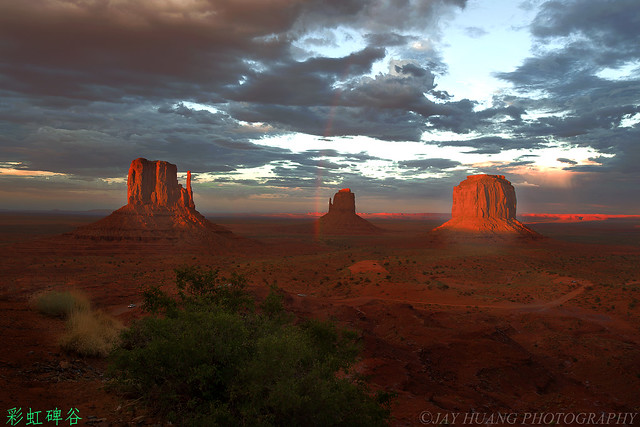 Rainbow and Sunset at Monument Valley