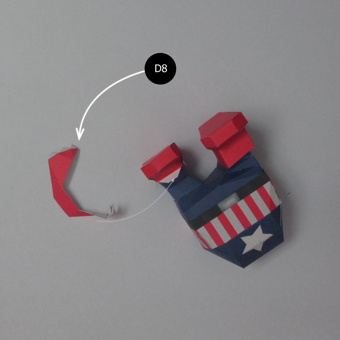 วิธีทำของเล่นโมเดลกระดาษกับตันอเมริกา (Chibi Captain America Papercraft Model) 026