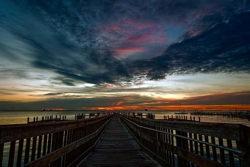 sky usa cloud building water sunrise river landscape dawn dock unitedstates florida cloudy titusville centralflorida edrosack