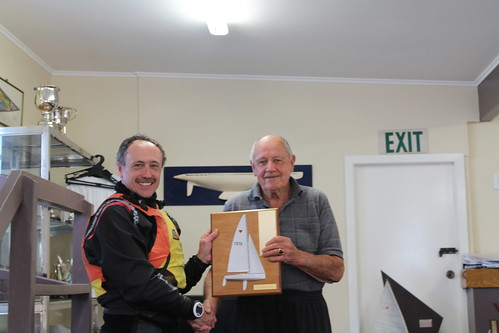Jeff Coffin receiving the new River Race trophy from Dick Brockliss | by PLSC (Panmure Lagoon Sailing Club)