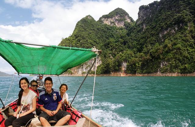 Enjoying the ride over Cheow Lan Lake