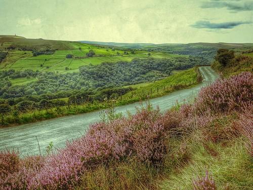 road uk green landscape view heather yorkshire hills fields westyorkshire calderdale stoodleypike caldervalley snapseed