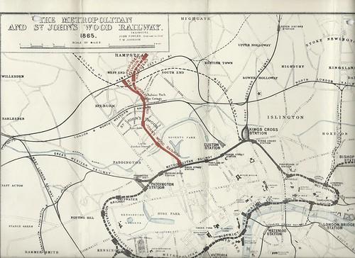 Metropolitan and St.John's Wood Railway Prospectus Map 1865 | by ian.dinmore