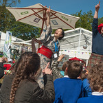 Mio Shapley and Fergus McNicol entertain the school children who came to Baillie Gifford Gala Day |