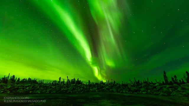 Green skies over Yellowknife
