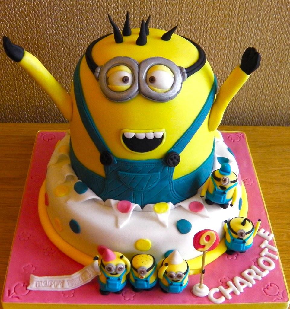 2 Tier Minion 9th Birthday Celebration Cake