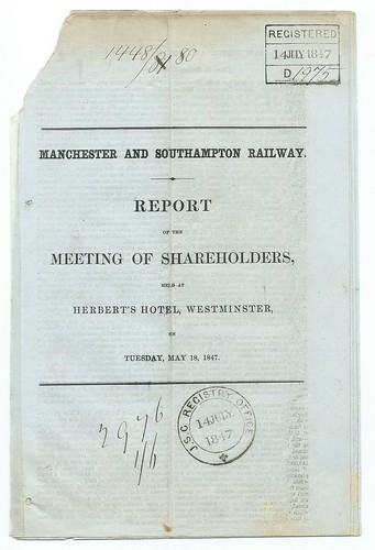 Manchester and Southampton Railway Shareholders Report 1847 | by ian.dinmore