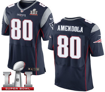 Nike Patriots #80 Danny Amendola Navy Blue Team Color Super Bowl LI 51 Men039;s Stitched NFL New Elite Jersey