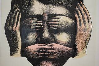 Malin comme trois singes, Roland Topor, sérigraphie, 1972 - Exposition Topor à la BnF