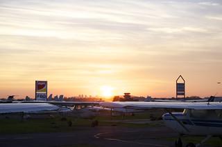 Sunset on airport