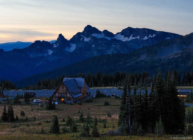 Sunrise Lodge with the Cowlitz Chimneys in the background