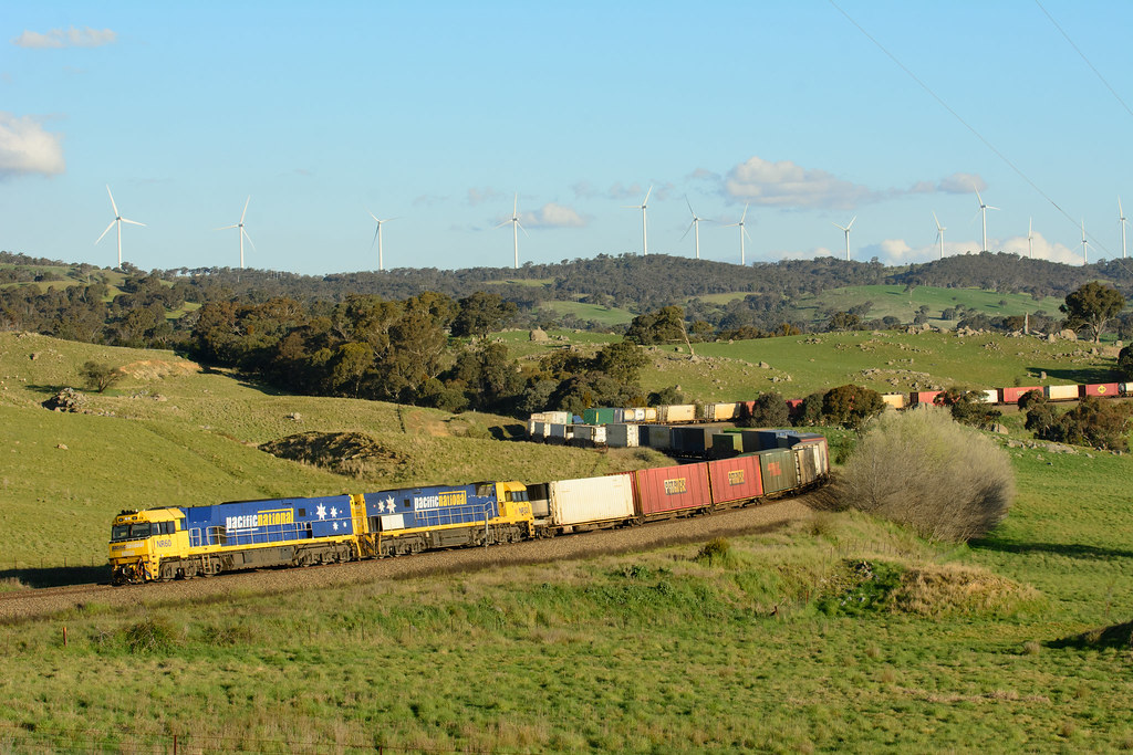 Pacific National locomotives, NR60-NR32 pass through the Cullerin Ranges with 5BM4 to Melbourne by Luke's Rail Gallery