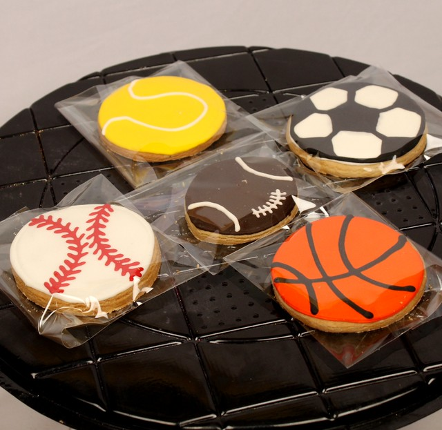 Sports ball theme royal icing cookie