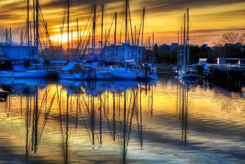 city urban water sunrise boats nikon granvilleisland vancouverbc hdr onone d60 photomatix tonemapped