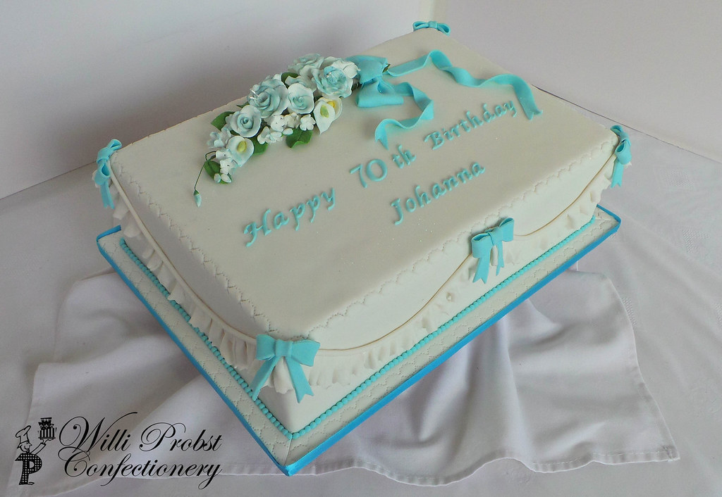 Magnificent 70Th Elegant Blue And White Sheet Birthday Cake Willi Probst Funny Birthday Cards Online Bapapcheapnameinfo