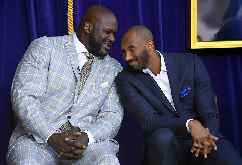 Kobe Bryant(圖右)與Shaquille O'Neal。(達志影像資料照)