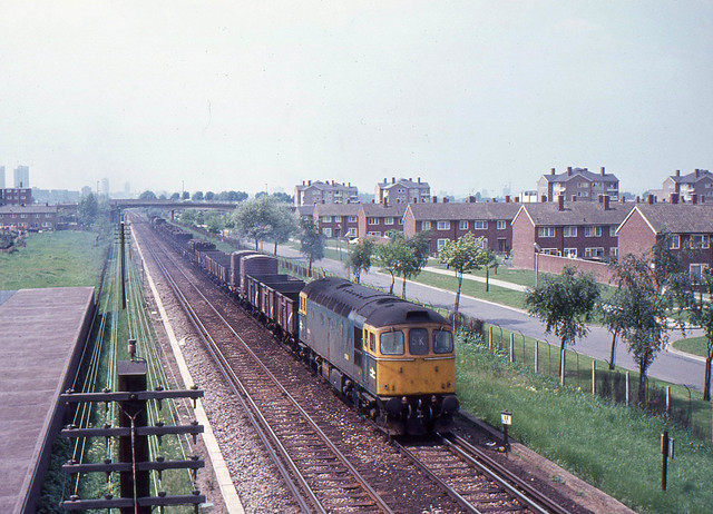 6586 seen near Abbey Wood Station with a Charlton to Leicester freight on 27-5-70. This view is now being altered for the Crossrail development. I Cuthbertson collection