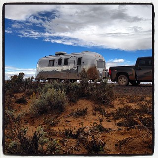 Another shot from the mud road leaving Chaco Canyon. #airstream #airstreamdc2cali #vintageairstream